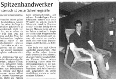 Germany's best carpentry apprentice hails from Moser GmbH in Haslach